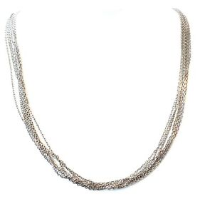 """Solid 14 karat White Gold 7 Strands Diamond-cut Cable Link Chain Necklace 16"""""""