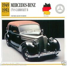 MERCEDES-BENZ 170 S CABRIOLET B 1949 1951 CAR GERMANY ALLEMAGNE CARTE CARD FICHE