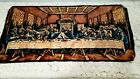 """Vintage The Lord's Last Supper Tapestry Wall Hanging Large Wall Art 37x18"""" Italy"""