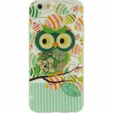 For iPhone 6 / 6S - HARD TPU RUBBER GUMMY SKIN CASE GREEN GLITTER OWL ON BRANCH