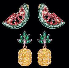 2er Set Ohrringe Ananas und Wassermelone, gold-und silberfarbenes Metall, Strass