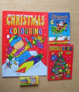 New Kids Christmas Activity Colouring Book Crayons Stocking Filler Card Craft
