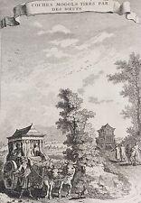 Mongolie Coches Mongols et boeufs gravure old engraving 1750 Asie Asia Mongolia