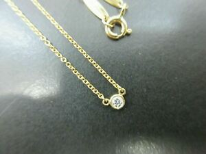 Auth Tiffany & Co. By The Yard Necklace Diamond 750 Yellow Gold Great 90184 B