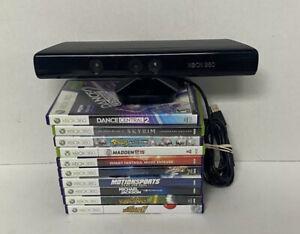 Xbox 360 Kinect Motion Sensor Bar Lot Bundle  Skyrim Adventures Michael Jackson