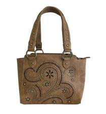 Montana West Ladies Concealed Gun Carry Purse Handbag Swirl Cutouts Design Brown