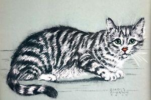 ALERT STRIPED CAT w BIG GREEN EYES 1941 Gladys Emerson Cook Vintage Matted Print