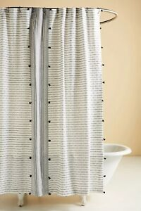 Anthropologie Tasseled Pendana Black Cream Shower Curtain Embroidered NWT Bath