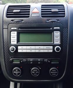 Carbon Fibre effect climatronic dash + air vents to fit VW Golf Mk5 Jetta Bora