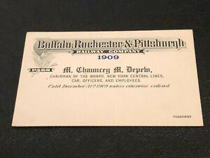 1909 Buffalo Rochester & Pittsburgh Railway RR Pass Employee Unused Mint Depew!!