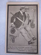 1910's era baseball novelty postcard Why do they wear that joyful air and throug