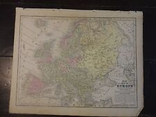 1850 Hand Colored Engraved Map of Europe - Mitchell's Atlas
