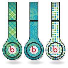 Removable Vinyl Decal -Fits Beats Solo HD Skins-Green & Teal Patterns Set of 3
