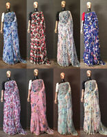 saree sari indian designer wear wedding silk party pakistani blouse new fancy et