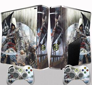 Xbox 360 Slim Console Skin Sticker Assassin's Creed Black Flag Vinyl Decal Skin