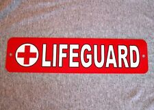 Metal Sign LIFEGUARD on duty safety rescue swimmer beach pool water park ems