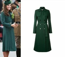Kate Middleton Pine Green Persephone Double-Breasted Womens Woolen Trench Coat