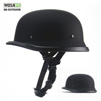 Motorcycle Half Helmet DOT German Style Open Face Helmet Shorty Helmet Skull Cap