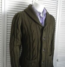 NEW Mens SZ 2XL ALPACA Olive Green Shawl Collar Knit Cable Cardigan Sweater PERU
