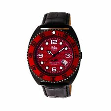Reign Quentin Automatic Pro-Diver Black Leather Men's Watch with Date RN4907