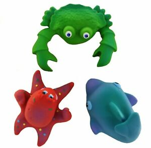 Natural rubber Teething Bath Toy 3-Set Ocean by Lanco, fully moulded