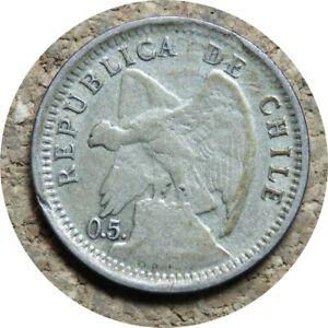 elf Chile 10 Centavos 1907 Silver  Defiant  Condor  0.5. Variety