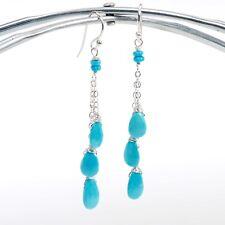 Precious Sleeping Beauty Turquoise Gemstone Drop Dangle Silver Chain Earrings