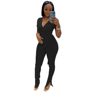 Fashion Women's V Neck Short Sleeves Solid Patchwork Casual Long Jumpsuit 2pcs