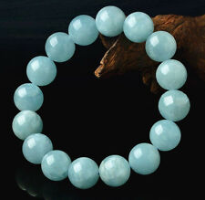 Genuine 12mm Brazilian Aquamarine Gemstone Chakra Beads elastic Bracelet 7.5""