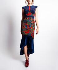 NWT! Nuvula Red & Blue Paisley Hi-Low Midi Dress #N630