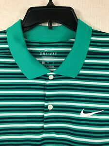 NEW! Nike Dri-Fit Standard Fit Green Striped Polo Shirt Men's Size XL