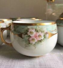 Set Of 6 J&C Bavaria Hand Painted Gold Trim Fine Porcelain Cups Gorgeous!!