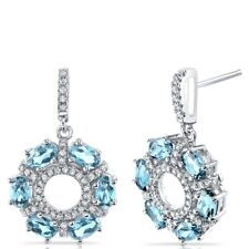 Swiss Blue Topaz Dahlia Drop Earrings Sterling Silver 3 Carats