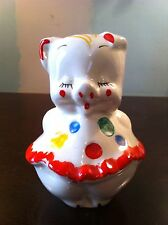 VINTAGE PIGGY BANK POLKA DOT PIG BY AMERICAN BISQUE W/ORG. CORK HANDPAINTED WOW!