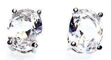 Silver 925 SF Stud Earrings 9*7mm Oval White Sapphire Gemstone