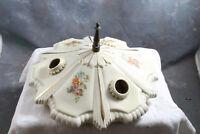 Antique ART DECO Ceiling Flush Mount Light Fixture Triple Bulb Porcelain Floral
