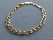 """STERLING SILVER/GOLD- 8"""" FIGARO TWOTONE BRACELET-FACETED/ POLISHED-5mm-ITALY 925"""