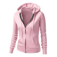 Ladies Plain Zip Up Fleece Hoody Women Sweatshirt Hooded Coat Jacket Top Hoodies