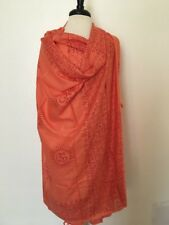 Om Yoga Ganesh Shawl Hippie Hare Ram Orange red Scarf Nepal Fairtrade Handmade