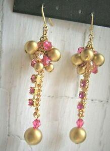 "Pink Rhinestone Dangle Earrings 1.5"" - Pierced NWOT"