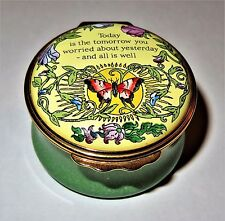 """Halcyon Days Enamel Box - """"Today Is The Tomorrow You Worried About Yesterday"""""""