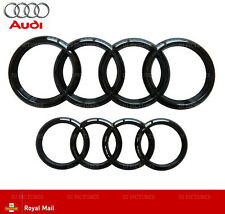 Audi Gloss Black Front Rear Grille Bonnet Badge Rings A1 A3 A4 A6 273mm 193mm