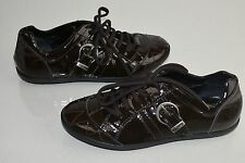 New DIOR Girls Sneakers Patent Leather Brown Quilted Lace Up Shoes 33
