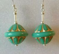 Green Czech Vintage Style Fluted Glass Bead Sterling 925 Silver Drop Earrings