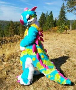 Chic Long Fur Monster Dragon Fursuit Furry Mascot Costume Cosplay Fancy Dress