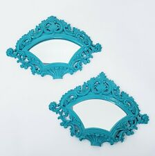 """Victorian Fan Mirrors Set of 2 Turquoise Teal 12"""" Resin Wall Hangings Home Decor"""