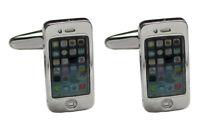 Manschettenknöpfe mobile phone handy silbern-farbig + Silberbox MM0702