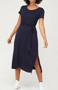 V By Very Belted Midi Length Dress T-Shirt Sleeve Side Slits Navy Blue Size 14