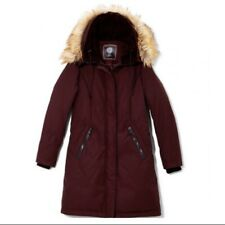 Vince Camuto Woman's Hooded Down Coat Faux Fur Hood Wine Color Size Large