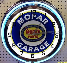 "18"" MOPAR GARAGE Sign Double Neon Clock Dodge Plymouth Ram Chrysler"